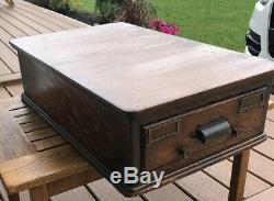 Vintage Tiger Oak Wood Card Catalog Tabletop One Drawer Early 1900s