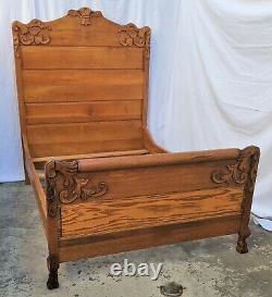 Vintage Victorian American Tall Tiger Oak Bed Double or Queen with Claw Feet