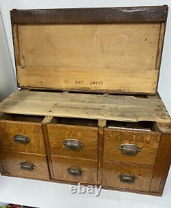 Vintage Yawman and Erbe MFG Tiger Oak 6 Drawer Wooden Library Card File Cabinet
