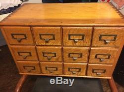 Vintage industrial dovetail 12drawer card catalog Tiger Oak file cabinet