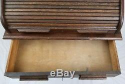 Vintage tiger oak roll top desk raised panel arts & crafts Mission style 1939