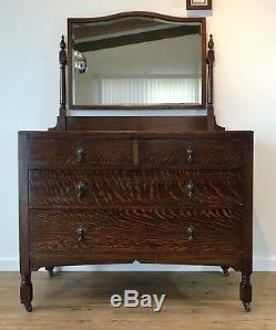 Vitctorian Antique Tiger Oak Dresser with Beveled Mirror