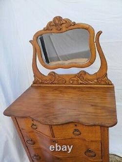 Vtg American Tiger Oak Highboy Dresser Serpentine Front & Claw Feet