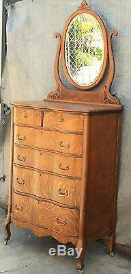 Vtg American Tiger Oak Tall Serpentine Highboy Dresser