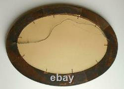 Vtg Antique Hand Painted Tiger Stripe Oak Oval Picture Frame Convex Glass Floral