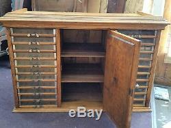 Vtg Antique Tiger Oak Spool Thread Sewing Storage Store Display Fixture Cabinet