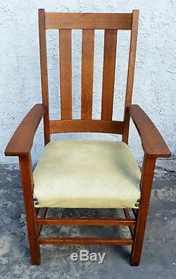 Vtg LIMBERT Arts & Crafts / Mission / Craftsman Tiger Oak Tall Chair ARMCHAIR