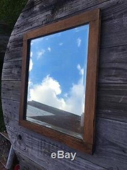 Vtg Tiger Oak American Chestnut Wood Plate Glass Beveled Mirror Antique 21