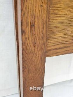 Vtg Victorian American Tall Tiger Oak Bed Double or Queen Headboard & Footboard