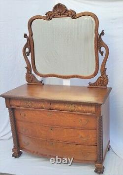 Vtg Victorian Large Tiger Oak American Dresser Chest with Mirror Circa 1900's