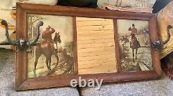 Vtg antique victorian tiger Oak Hall Mirror Coat hat Rack gargoyle Hooks