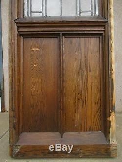 XL Antique Victorian Gothic Tiger Oak Church Lead Glass Window Door Partition E